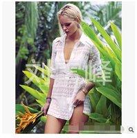Cheap Plumblossom Wholesale Europe jacquard fabrics windbreaker women sexy bikini swimwear cover ups smock dress beach resort 2016 DHL freeship