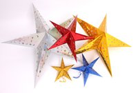 Wholesale 2016 New Home Decor Christmas Tree Ornament Party Hanging Pentagram Lamp Shade Paper Star Decorations Xmas Tree have size