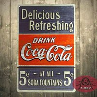 Wholesale Drink coke Delicious Refreshing Tin Sign Vintage Retro Home Decor Bar decor