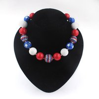 american acrylics usa - Children USA flag print necklace Kids girl boy Halloween Christmas gift Bubble gum necklace American flag beaded jewelry necklace