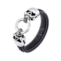 bar threading machine - Men s Brand New Genuine Leather machine sewing thread Bracelet Wirstband L Stainless steel Double Skulls Charms Jewelry