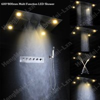 Wholesale Led Faucets Sale - High Flow Hot sale luxury rainfall shower faucet shower set with led electric multi function shower head and brass valve