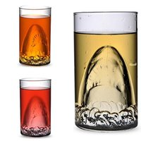 Wholesale 350ml Shark Double Layer Glass Cup Mugs Transparent Wine Glass Beer Mugs Cup Kitchen Bar Glass Cup Juice Glass Cups Drinking Glasses PPA92