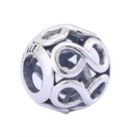 antique sign letters - 2016 New Antique Sterling Silver Infinity Sign Infinite Shine Ball Openwork Charms For Women Bracelet DIY Jewelry Making HB630
