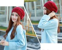 Wholesale Women new fashion Hat Autumn and Winter Rabbit Fur Beret Skullies Beanies Winter Knit Hat Ladies Korean Beret Ha