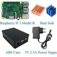 Wholesale 2016 Raspberry Pi Model B Kits included Raspberry pi Board ABS Case V A Power Supply Heat Sink