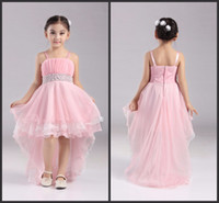 short front long back girls dress - Factory years Girl Party Dress New Pink Flower Girl Dresses Short Front Long Back Kids Evening Gowns