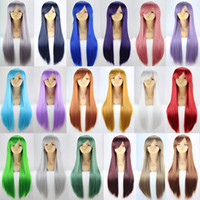 Wholesale CM Wig Cosplay Women Lady Long Straight Hair Multi color Head Wear Party Performance Anime Prop