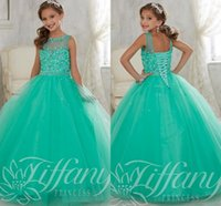 blue green jade - 2016 Jade Mint Green Girls Pageant Dresses Tulle Jewel Neck Crystal Beades Long Ball Gown Size Party Children Birthday Kids Girl Gowns