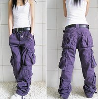 Wholesale Women multi pocket Overalls Straight Trousers Hip hop Pants Couple Pants Women Khaki Casual Pants Loose Hiphop Dance Pant