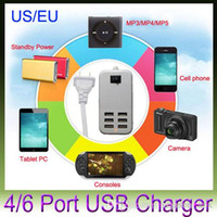 Wholesale Multi Function EU US AC Adapter V A Port USB Charger for iPhone S For Samsung All Smart Android Phone Tablet PS4