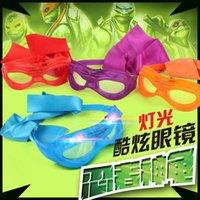 Wholesale hot sale new TMNT Boys Girls LED glasses fashion Teenage Mutant Ninja Turtles glasses Eye mask Plastic Frame children cosplay