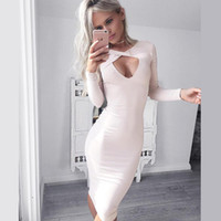 Wholesale Autumn Winter Women Dress Vestido Long Sleeve Deep V Neck Chic Club Wear Pencil Bandage Bodycon Party Dresses Work Office Clothing
