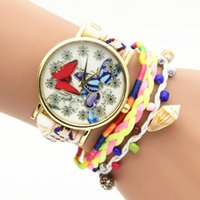 beautiful girls without dress - Beautiful butterfly women bracelet watch fashion ladies casual rope weave girls leather flower dial dress quartz watch for women