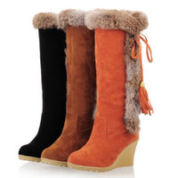 Wholesale High Quality Women Winter Snow Boots Ladies Wedge Heel Slip on Long Knee Boots Super Warm Women Shoes Size