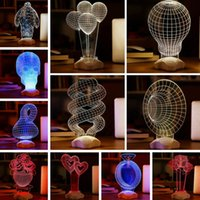 Wholesale 3D Night Lights LED Visual Bulb USB Table Lamp Home Decoration Night Lights Baymax Rose Ballon Optic Lights Cartoon Sculpture Bulbs PPA98