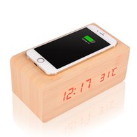 Wholesale Modern Wooden Cube Digital LED Alarm Clock Voice Control With Wireless QI Charging And Thermometer Timer Calendar Function
