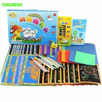 art cardboard - 46pcs set Multi function Magic Coloring Scratch Paper Art Set Stencils for Painting Drawing Toys Children Kids Girl Boys
