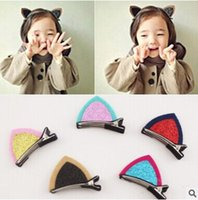 korea hairpin baby - Children headdress hair accessories Korea Version Girls cat ears hairpin top folder baby issuing sub color options