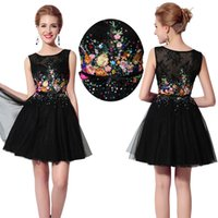 Wholesale Real Photos Colorful Print Black Little Short Homecoming Dresses Jewel Neck Lace Appliques Knee Length Junior th Graduation Ball Gowns