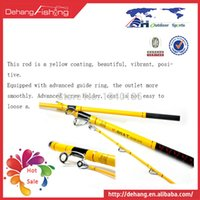 Wholesale Boat yellow meters double carbon boat pole fishing rod lure rod