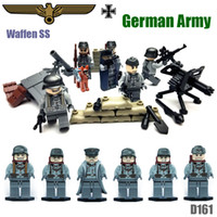 Wholesale Custom Rare WW2 German Wehrmacht Waffen SS Soldier Army Military Minifigure Building Blocks Bricks Toy Shepherd Dog Mortar D161