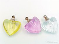 big glasses party - 10pcs big heart shape classic Crystal perfume oil via pendants handmade jewelry findings name on rice glass necklace pendant charms