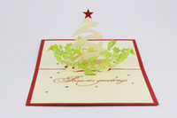 Wholesale 3d greeting card christmas greeting card christmas decoration christmas cards for bessing cards christmas tree pop up greeting card
