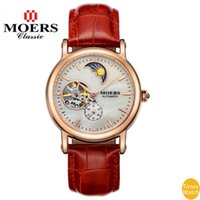 belt with stones - Moers women Moon phase Automatic belt mechanical Genuine Dress Clock Waterproof shockproof Couple Wristwatches Relogio Feminino