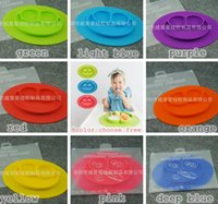 baby feeding dish - 2017 Happy Mat Silicone Children Kids Baby silicon bowl One piece silicone placemat with plate Baby feeding silicone cups dishes colors