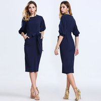 Wholesale New Women Bodycon Autumn Casual Party Evening Cocktail Midi Dress One Piece A line Dress