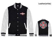 baseball spain - Spain hip hop clothing brand independent baseball Jerseys jackets designer winter cotton fleece hoodies leather sleeve jacket