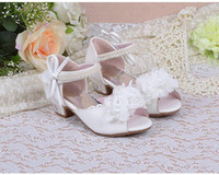 Wholesale New Children Princess Pearl Beading Sandals Kids Flower Wedding Shoes High Heels Dress Shoes Party Shoes For Girls Pink