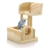 Wholesale Pet Rat Hamster Mouse Wooden Lookout Tower Platform Exercise Toy Great for your pet hamster casual sports