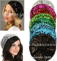 Wholesale Women Hats Fashion Sequins Stretch Beret Beanie Bling Hats European and American Hot Sale Women Christmas Hats
