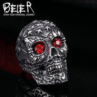 Wholesale 2016 NEW Man Skull ring Factory Price L Stainless Titanium Steel Jewelry BR8