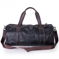 bag cylinders - Colors Men Large Leather Duffle Gym Travel Bags Luggage Handbag Shoulder Bag High capacity Cylinder Casual