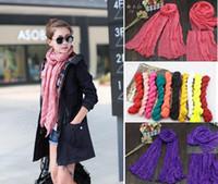Wholesale New fashion Women Voile Pure Scarf Drape Cotton Linen Candy Color Shawl Wrap Beach Silk Scarves HeadScarf Pashmina