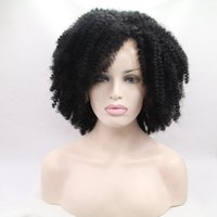 Wholesale Top Quality Afro curly Heat Resistant Synthetic Lace Front wig Density for Black Women Long cm