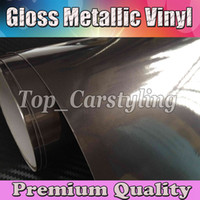 Wholesale Dark Grey Glossy candy Vinyl CAR WRAP FILM with air channel METALLIC Gunmetal grey Sticker Car styling Size x20m Roll