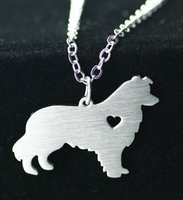 american borders - European and American fashion jewelry necklace pendant animals border collie clavicle chain Stainless Steel necklace