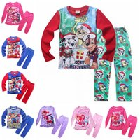 Wholesale 2016 Kids pajamas New Cotton Cartoon Long sleeve tops trousers Homewear Suit paw patrol snow slide clothes Children Baby Boys Girls Clothing