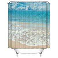 beach curtains - Customs W x H Inch Shower Curtain Beach Sea Waterproof Polyester Fabric Shower Curtain