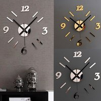 Wholesale Romantic DIY Wall Clock D Mirror Surface Sticker Home Office Decor Clock For My Warm Home orologio da parete Smile