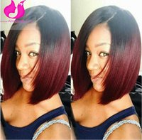Cheap Short Bob 1bT99J Red Ombre Bob Full Lace Wigs With Bleached Knots For Black Women Dark Roots Silky Straight Bob Lace Front Human Wig On Sale