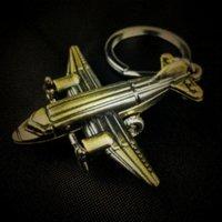 best fighter plane - 2016 vintage steampunk metal D plane shape key chain ring fighter model keychain creative trinket novelty items best charm gift