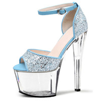 adhesive powder - 17 cm super high heels heel nightclub sexy Hate day high performance shoes flash powder color matching and crystal sandals