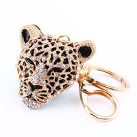 rhinestone keychain - Animal Panther Leopard Rhinestone Keyring Charm Pendant Purse Bag Key Ring Chain Keychain Gift