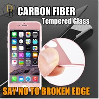 Wholesale Soft Glass Wholesale - Carbon Fiber Tempered Glass For Iphone 7 plus Soft Edge I7 Screen Protector 2.5D curved Full Screen For Iphone 6s Retail Package