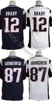 Wholesale New Logo Patriots Men Julian Edelman Tom Brady Rob Gronkowski Game Stitched Football Jersey Accept Mix Order